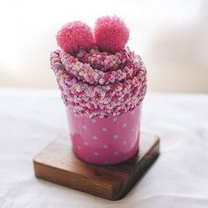 Cupcake Pom Pom Fuzzy Socks - Pink